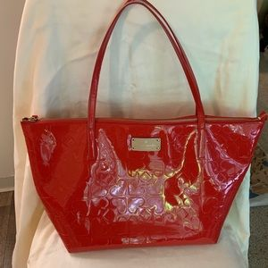 Kate Spade New York red patent leather zip tote